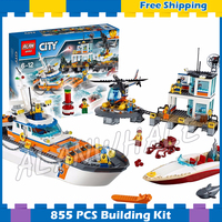 844pcs City Coast Guard Head Quarters Ship Helicopter Boat 10755 Model Building Blocks Children Gifts sets Compatible With Lego