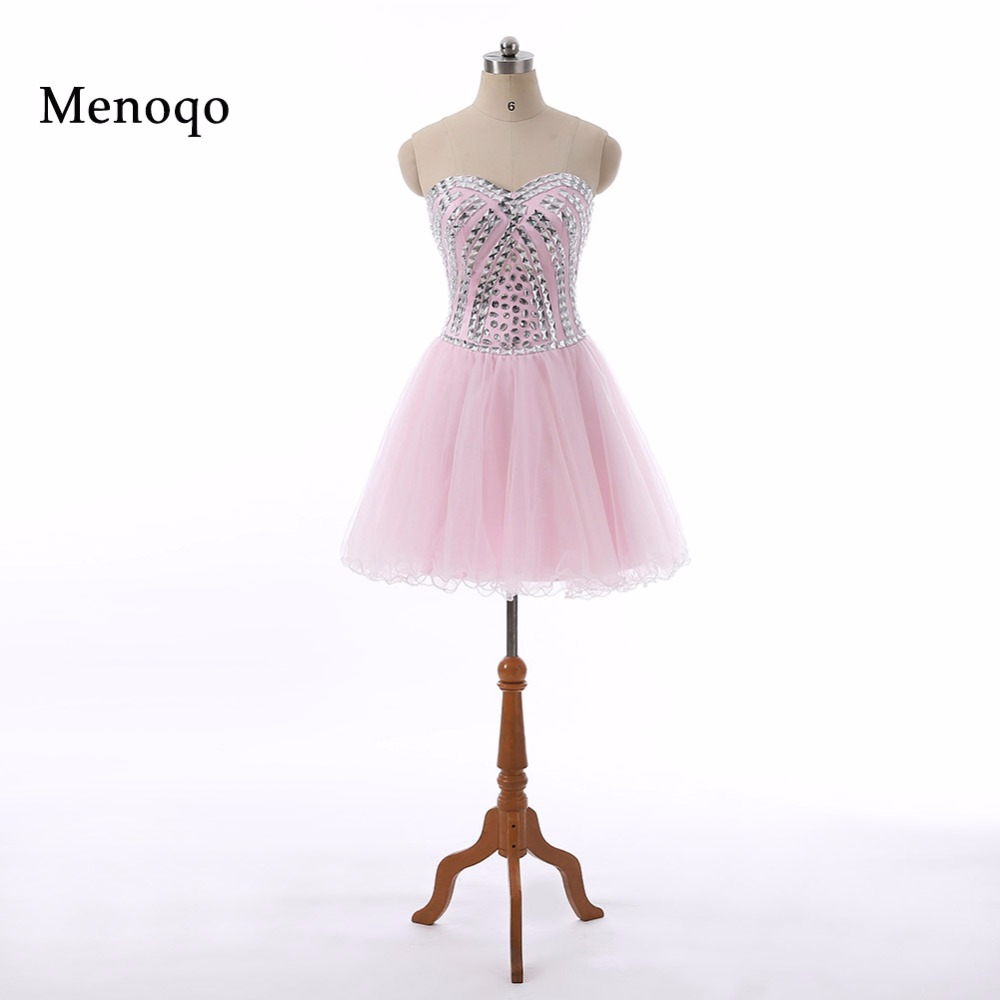 Menoqo   Cocktail     Dresses   2018 Sweetheart Neck Beaded Formal Vestidos Above Knee Pink Sexy Prom   Dress   Short Party Gown