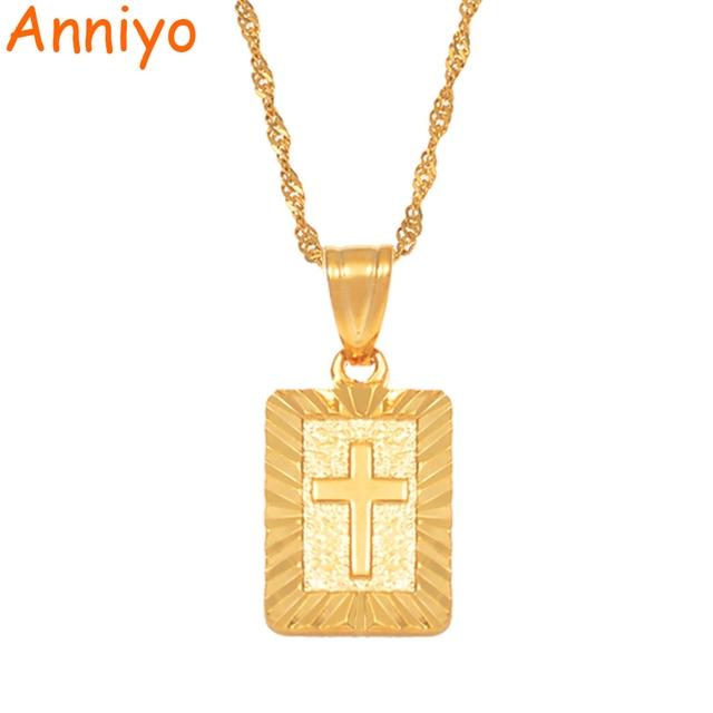 Anniyo Christian Cross Pendants Women Gold Color Christianity Crucifix Classic J