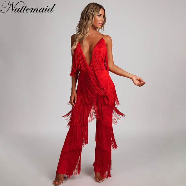 400968d645df NATTEMAID V Neck Backless Halter 2018 Summer Jumpsuit Bandage Casual Sexy  Club Tassel Rompers Womens Jumpsuit