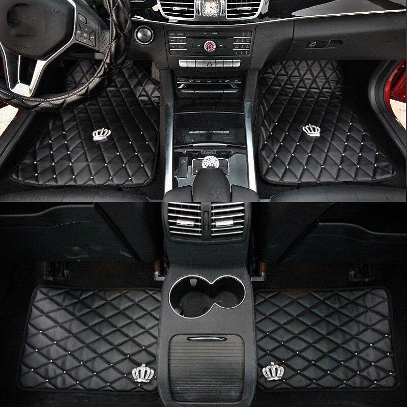 Tapis de sol voiture couronne universelle tapis Auto en cuir antidérapant pour accessoires d'intérieur ensembles de couvre-sol pour femmes filles noir