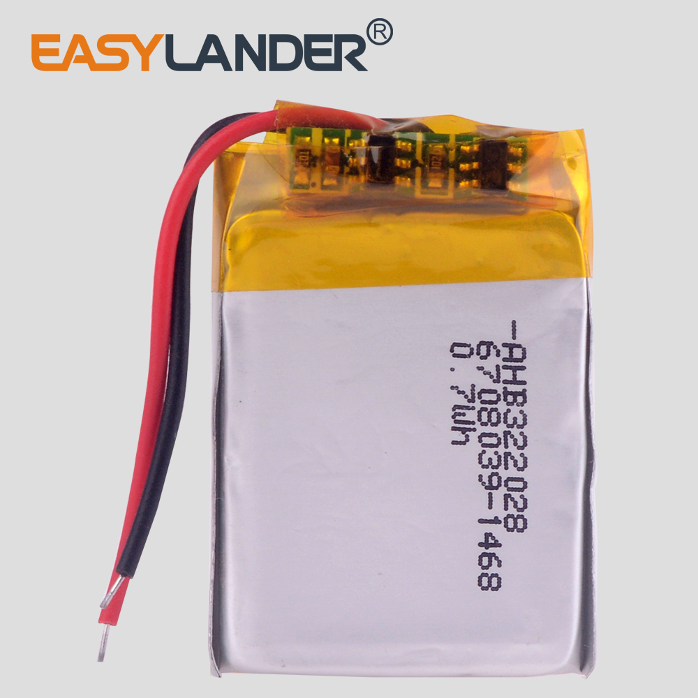 Easylander 322028 3.7V 0.7Wh Rechargeable li-Polymer Battery For bluetooth headset mp3 speaker TomTom runner cardio battery image