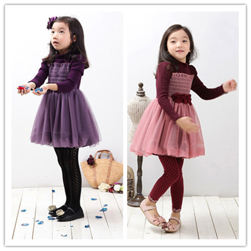 free ship girl winter princess dress robe princesse fille 2015 sweater dress girl long sleeve vestidos party r dress