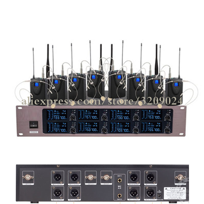 Professional 8 Headset Mic UHF 8 Channels Wireless Microphone System 8 Channels MultichannelProfessional 8 Headset Mic UHF 8 Channels Wireless Microphone System 8 Channels Multichannel