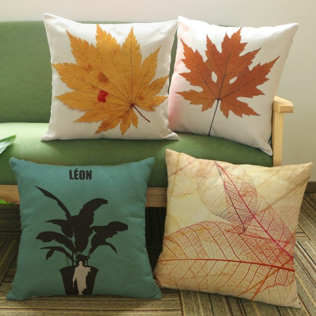 40 Autumn Maple Phoenix Tree Coffee Leaf Sofa Throw Pillow Cushion Unique Autumn Decorative Pillows