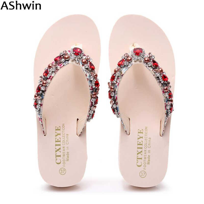 bc50f047 AShwin rhinestones sandals women summer flip flops shiny crystal slides  sandal for lady fashion shoes flats