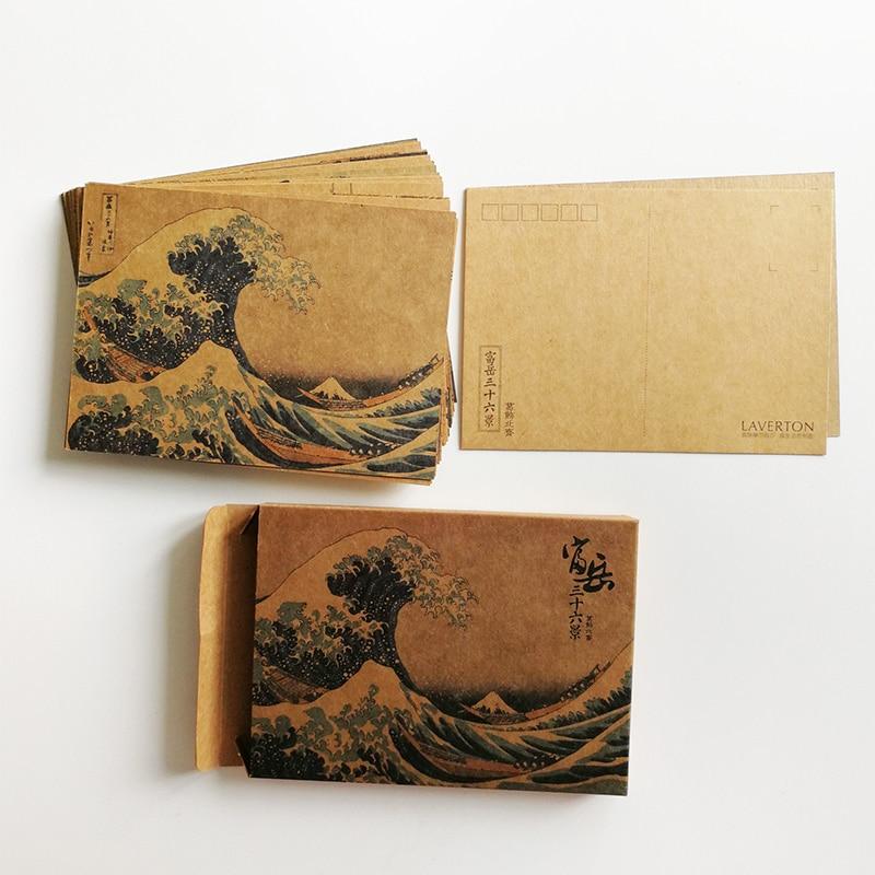 Thirty-Six Views Of Mt. Fuji  By Katsushika Hokusai  Kraft Paper Postcards  Ukiyoe Postcards 36Pcs/set