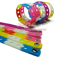 200pcs/lot 17 color Silicone Wristband Bracelet Bangle 18cm Fit Shoe Charms Shoe Croc Buckle Shoe Accessories Fashion Jewelry