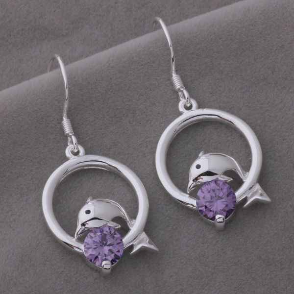 AE577 925 sterling silver earrings , 925 silver fashion jewelry ,  dolphin inlaid purple stone /cnaaleha bgiajxpa