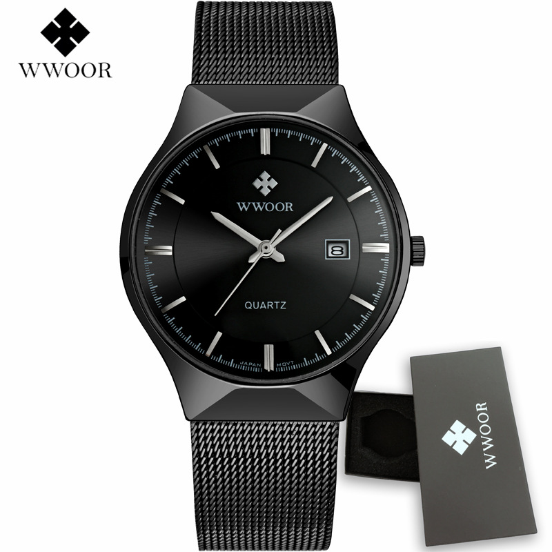 Relogio Masculino 2017 New Fashion Casual Mens Watches WWOOR Brand Luxury Men Business Quartz Watch Mesh Strap Waterproof Clock new luxury brand wwoor watches men genuine leather clock fashion sports watch mens casual military wristwatch relogio masculino