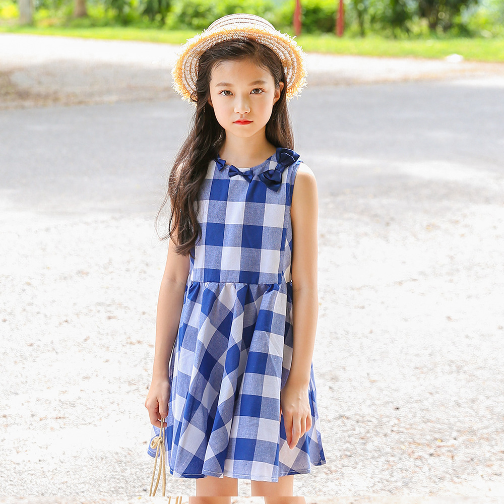 Kids Girls Blue Plaid Summer Dress 2018 Big Girls Dresses Teenagers Clothing Girl Clothes For 3 4 5 6 7 8 9 10 11 12 13 14 Years summer 2017 new girl dress baby princess dresses flower girls dresses for party and wedding kids children clothing 4 6 8 10 year