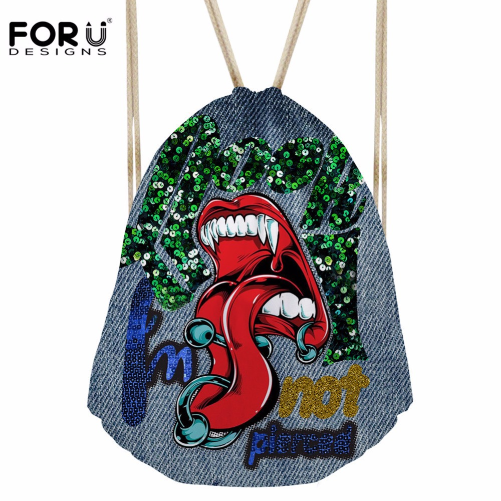 FORUDESIGNS Women's Drawstring Bag Females Funny Monster Prints Daypack For Kids Girls Casual College Backpack Mochilas Escolar