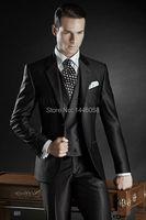 2017 New Custom Made Groom Tuxedos Shiny Black Best man Notch Lapel Groomsman Men Wedding Suits Bridegroom(Jacket+Pant+Vest)