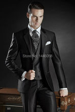 2017 New Custom Made Groom Tuxedos Shiny Black Best man Notch Lapel Groomsman Men Wedding Suits