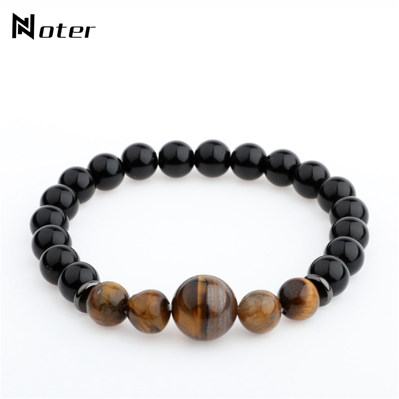Noter Tiger Eyes Stone Beads Buddha Bracelet Charms Black Obsidian Yoga Meditation Braslet For Mens Hand Jewelry Pulsera Hombre