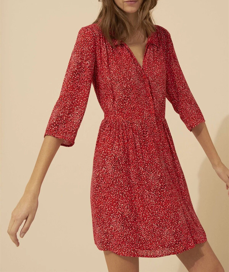 2019 New Women Half Sleeve Print Shirt Style Loose Dress