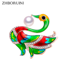 ZHBORUINI 2019 New Natural Pearl Brooch Colorful Enamel Swan Breastpin Freshwater Jewelry For Women Christmas Gift