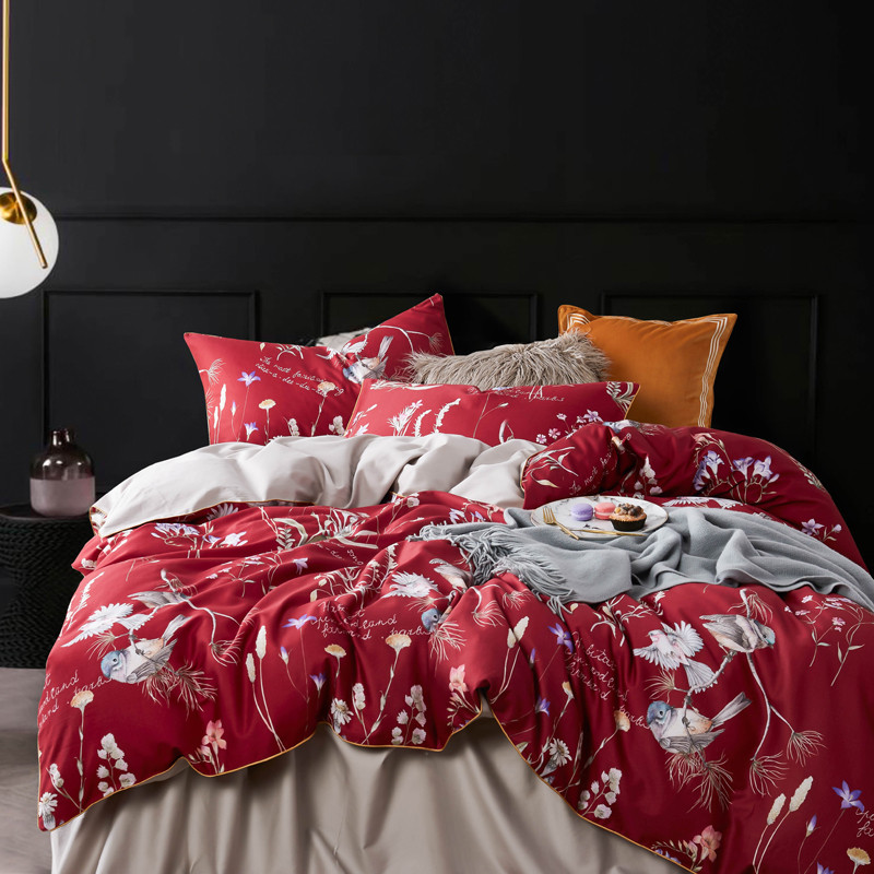 Bonenjoy Red Color Bed Linen 100%Egyptian Cotton Bed Sheet Sets Digital Printing 60S Long-staple Cotton Bedding Set Luxury Bonenjoy Red Color Bed Linen 100%Egyptian Cotton Bed Sheet Sets Digital Printing 60S Long-staple Cotton Bedding Set Luxury