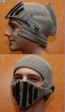 Бренд женщины и мужчины тёплый зима вязка крючком вязать шляпа с a гладиатор маска кепка! Шапочка лыж медный купорос рыцарь шляпа