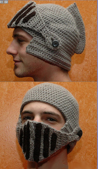 Free Shipping! 2014 New Brand Women And Men Warm Winter Crochet Knit Hat With a Gladiator Mask Cap! Beanie Ski Roman knight hat