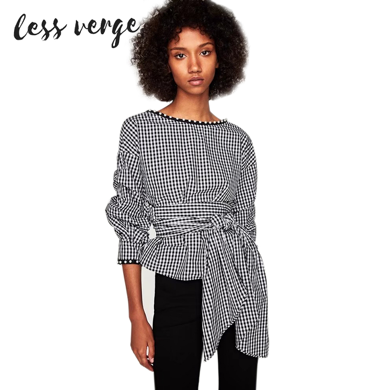LESSVERGE Plaid Waist Tie Lantern Sleeve Blouse Shirt Women Pearl V Neck Shirts Blusas Autumn 2017