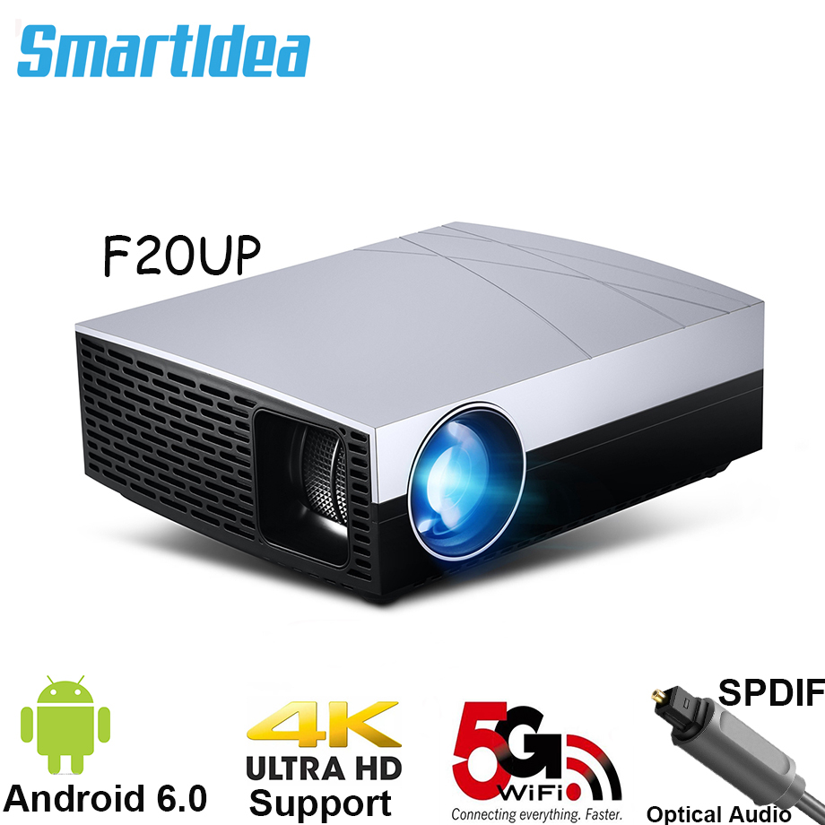 2019 Smartldea F20 Full HD 3D LED Projector Home Cinema Beamer Option F20UP Android6 0 5G