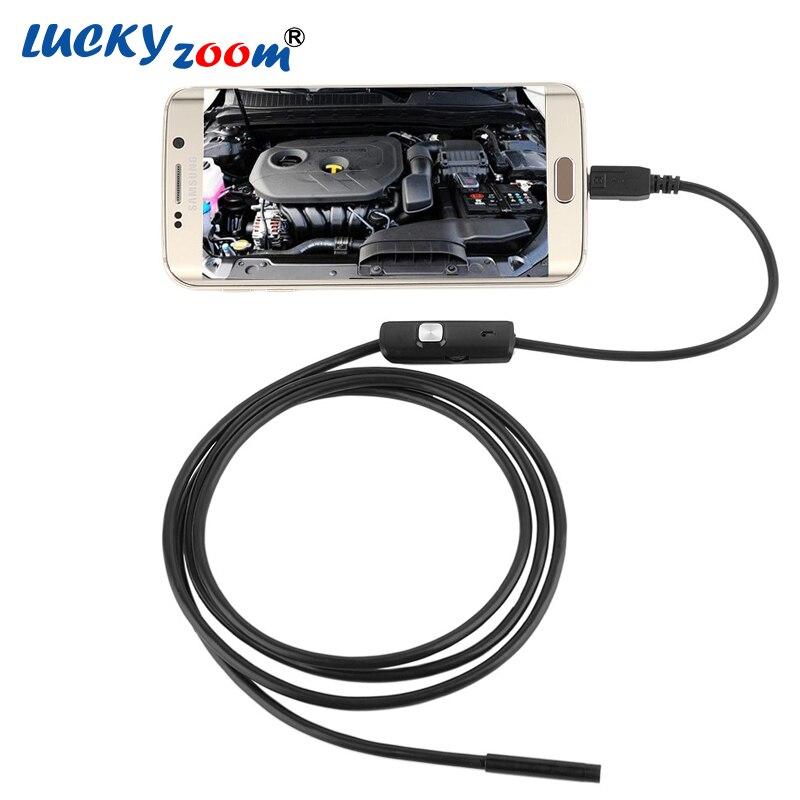 130 w 720 p (Sur PC) HD 7mm objectif D'inspection Endoscope Tuyau 1 m Pour OTG Android Téléphone Étanche USB Microscope Caméra Avec LED Lumière