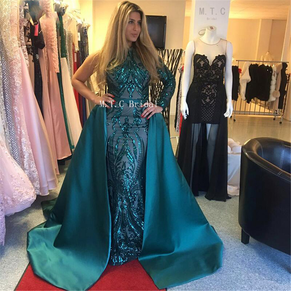 Graceful One Shoulder Mermaid Dark Green Evening Dress Exquisite Sequins Lace Detachable Train Long Sleeve Prom Gown Custom Made