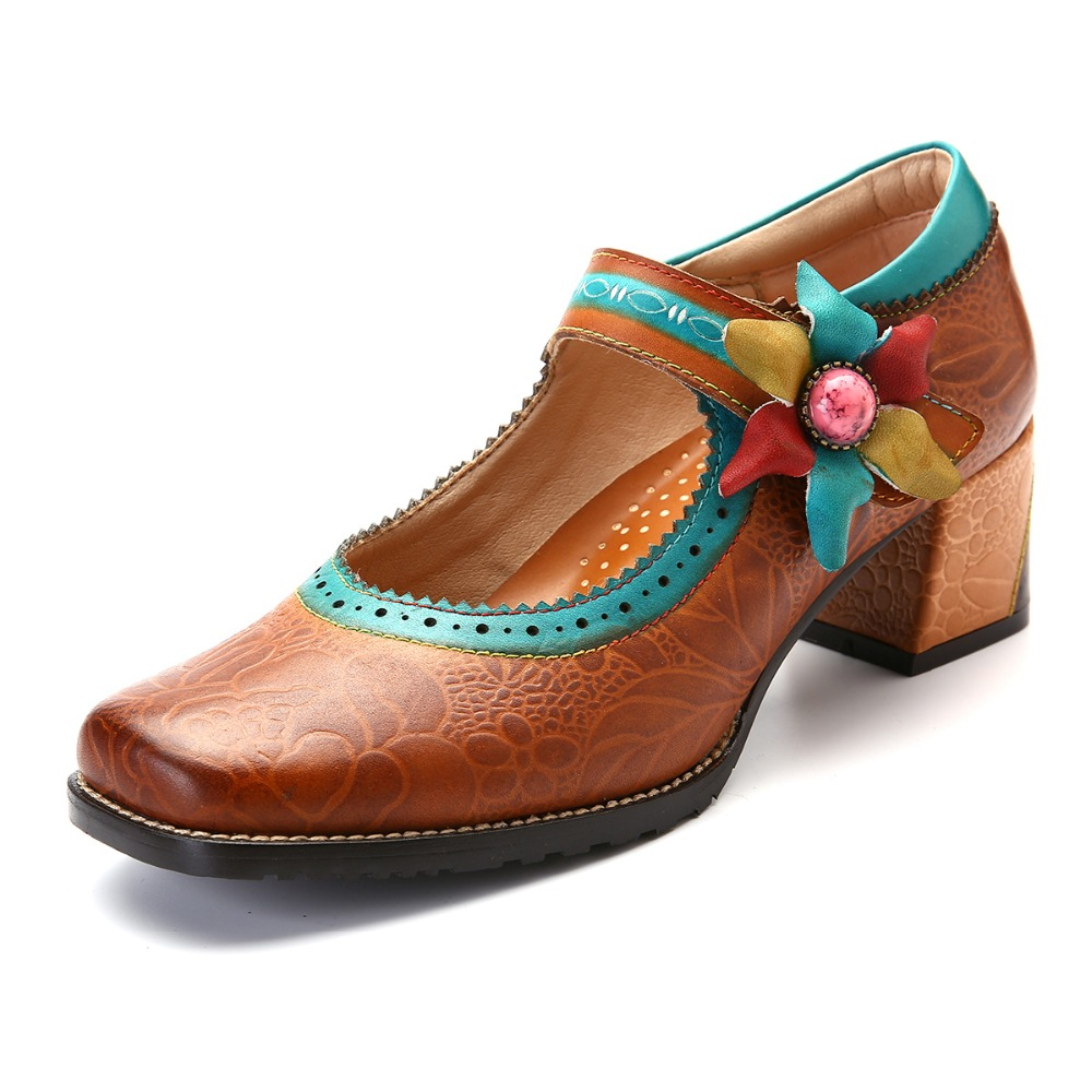 Prova perfetto Hot Style Retro Flower Woman Pumps Bohemian Style Buckle Strap High Heels Square Toe Spring Casual Single Shoes-in Women's Pumps from Shoes    2