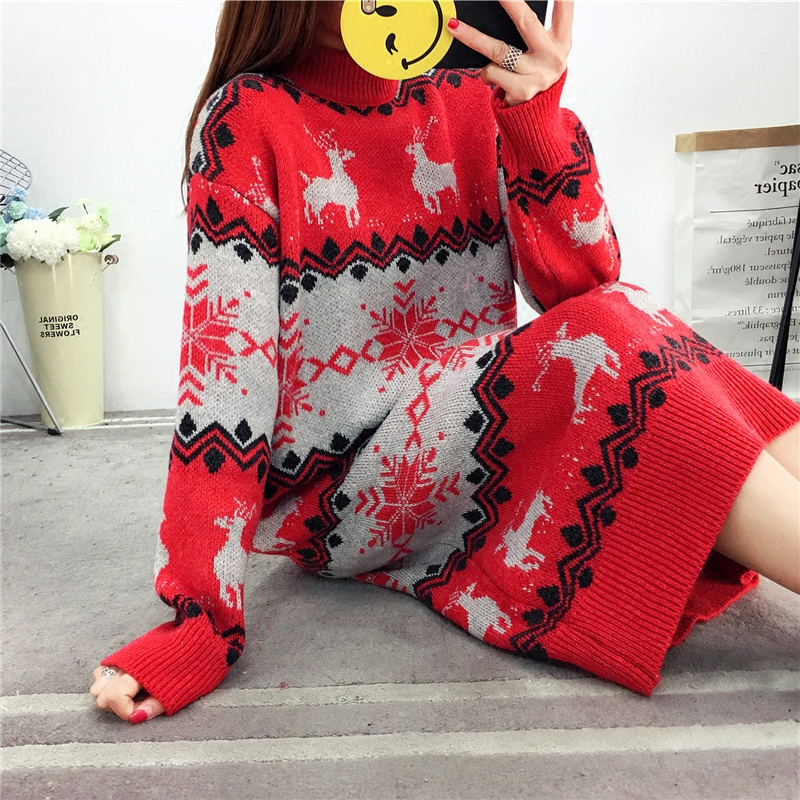 858ce2dd2aaf1 Women Winter New Sweater Dress Long Sleeve Reindeer Print Striped Warm Plus  Size Christmas Dresses Casual