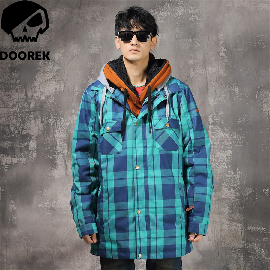 Doorek 1pc Winter Women Men Ski Jacket Waterproof Windproof Warm Ski Coat Thicken Breathable Snowboard Jacket Outwear Blue Grid 4 colors winter women men camouflage ski jacket waterproof windproof warm ski coat breathable snowboard hooded jacket outwear
