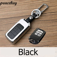 Peacekey Top Lay Leather Car Key Case Fob Cover Fit For 2015 2016 2017 Honda Civic