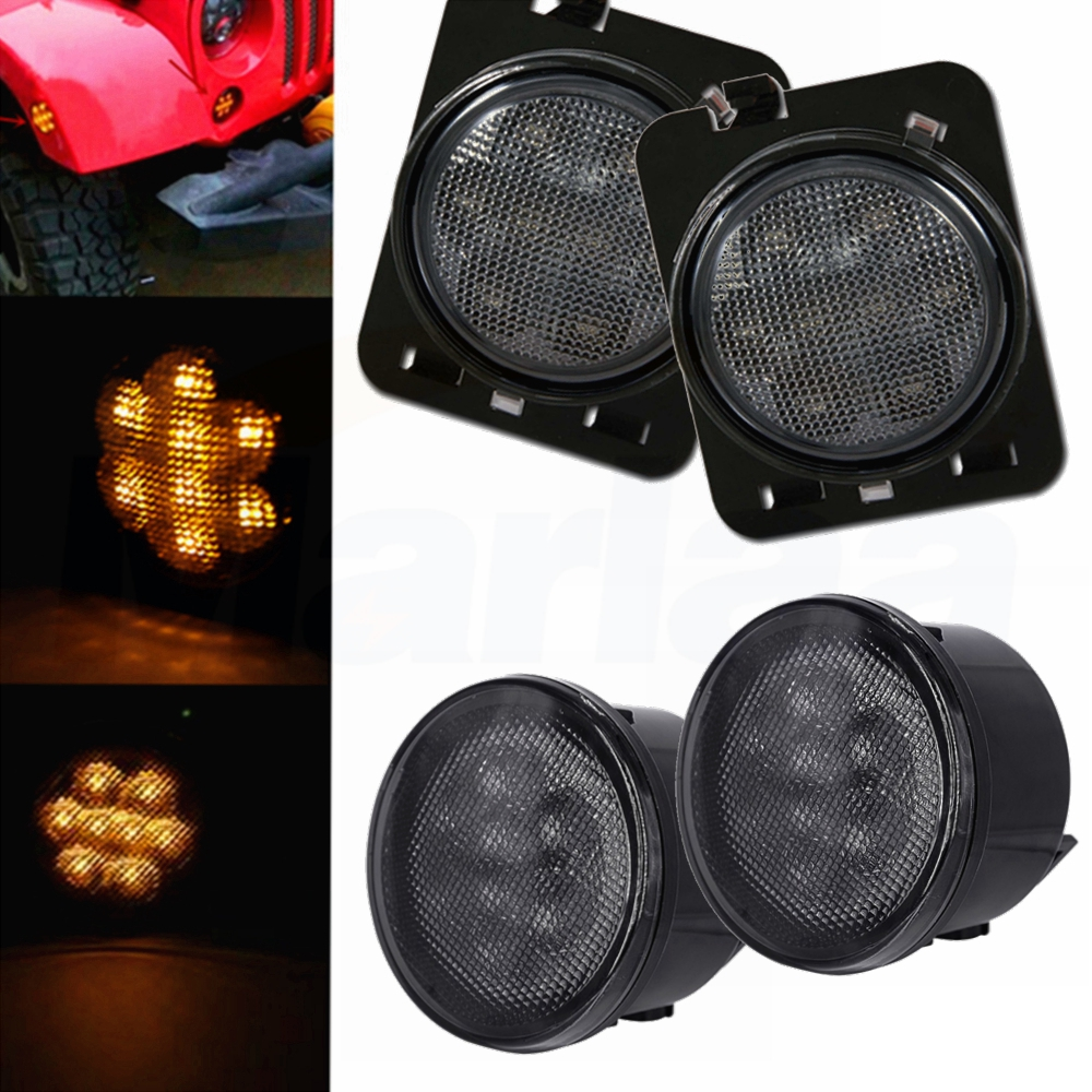 Front Amber LED Turn Signal Lights  for Jeep Wrangler JK 2007-2016 Smoke Lens 2 pcs black car styling parts front rear grab bar handles for jeep wrangler jk 2007 2017 new fashion upgraded