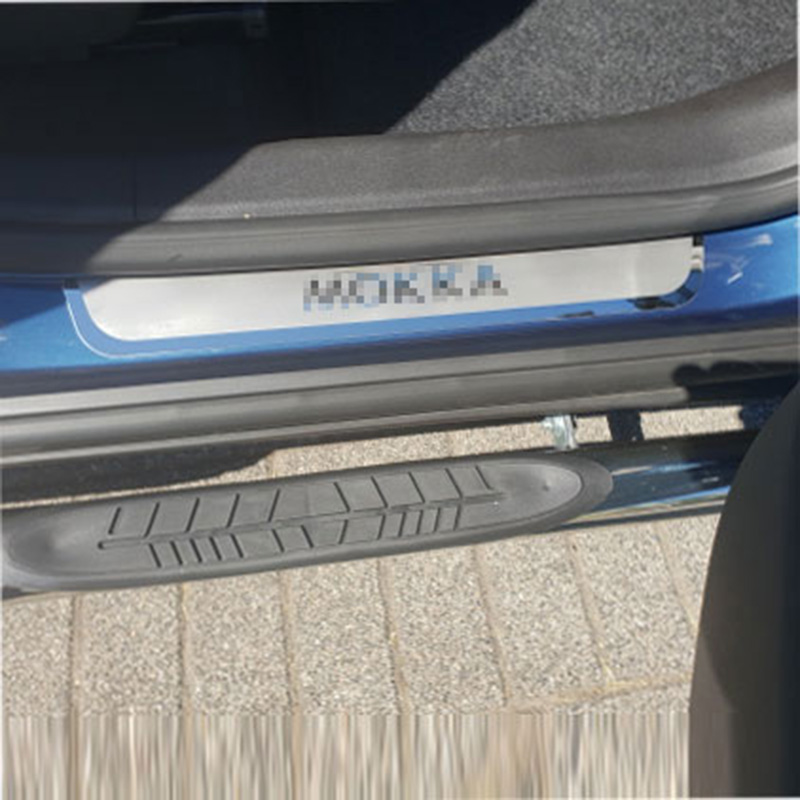 for Opel Mokka Vauxhall 2012 2013 2014 2018 Stainless Door Sill Car Styling Stickers Automobile Accessories 4 Pcs in Chromium Styling from Automobiles Motorcycles
