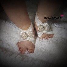 Аксессуары для новорожденных волос Эластичный Бант жемчужный браслет для ног Детская повязка на голову детские сандалии босиком для девочек кольцо для ног реквизит для фотосессии