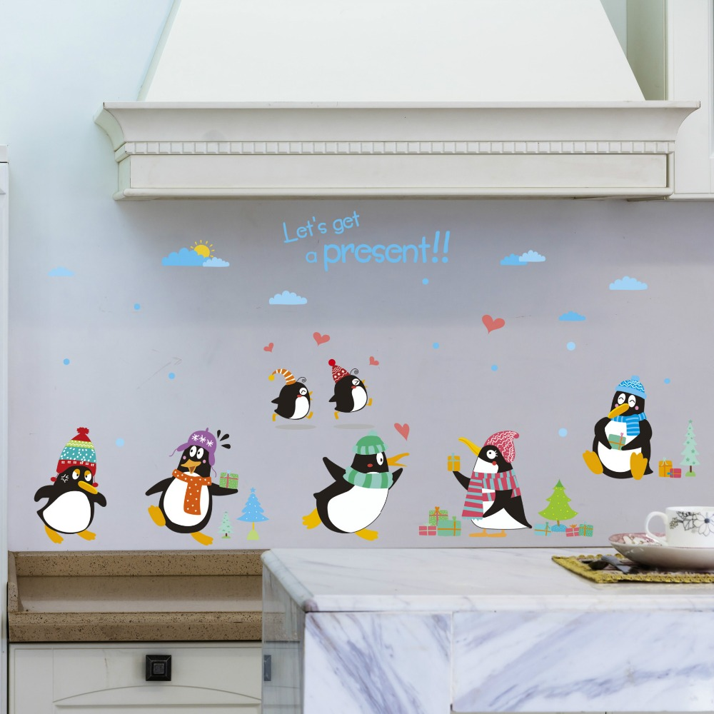 Cartoon Penguin Wall Stickers Kids Room Stickers Stickers Living ...