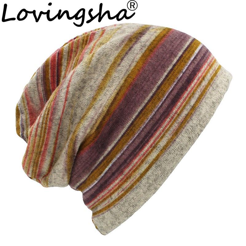 LOVINGSHA Autumn Winter Thin Women Skullies Beanies Striped Design Hats For Men Fashion Feminino Multifunction Scarf HT109