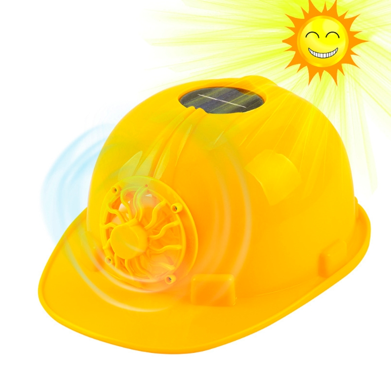 Yellow Solar Powered Cooling Fan Safety Helmet Work Hard Hat Cap Head ProtectYellow Solar Powered Cooling Fan Safety Helmet Work Hard Hat Cap Head Protect