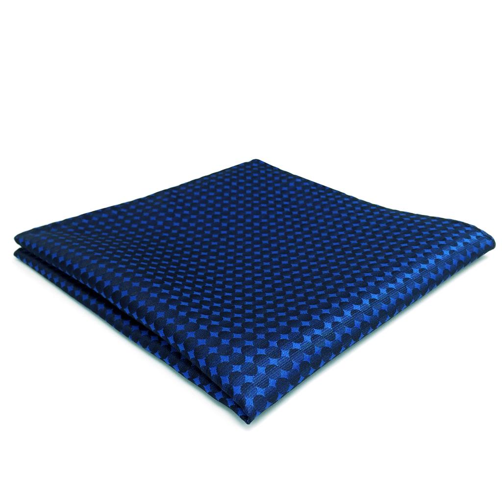 FH25 Blue Dots Mens Pocket Square Handkerchief Silk Large 12.6""