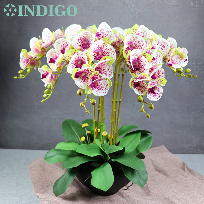 Image 1 - 15pcs/Set Flower Arrangment Orchids With Leaves Real Touch Flower