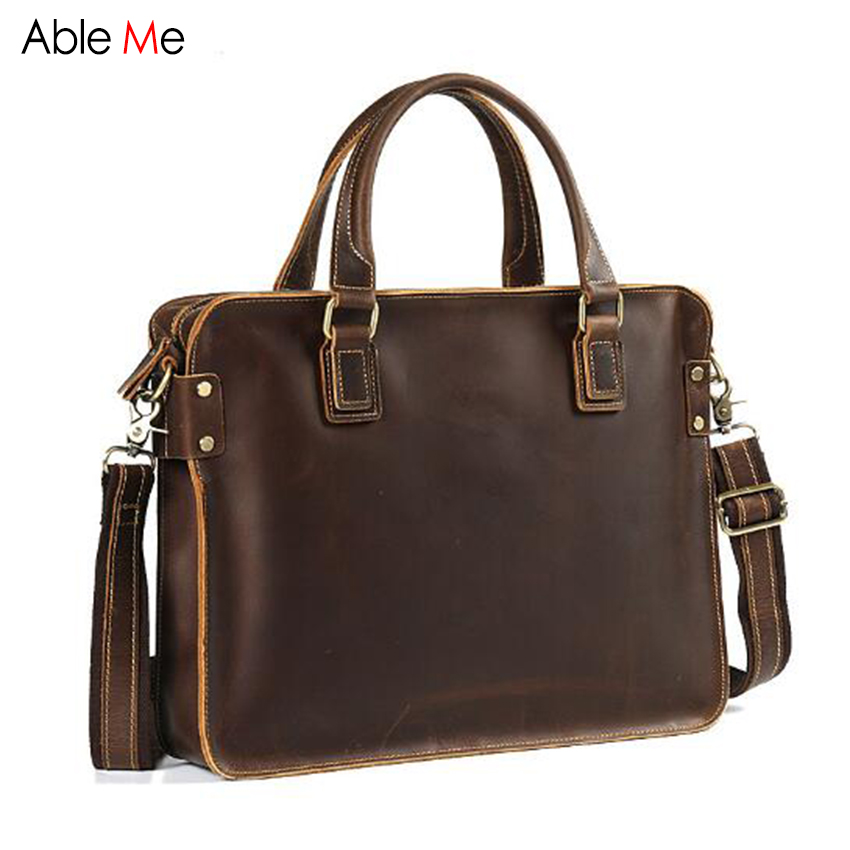 New Retro Genuine Leather Bags men's shoulder Laptop bag cow leather business men briefcase crossbody Handbags Male gifts