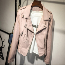 Brand Motorcycle PU Leather Jacket Women Winter And Autumn New Fashion Coat 2 Co