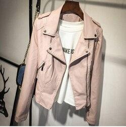 Marca Motocicleta Jaqueta De Couro PU Mulheres Outono E Inverno Novo Casaco Fashion 2 Cores Zipper Outerwear casaco Novo 2017 Casaco HOT