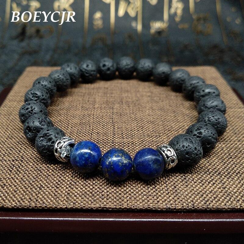 e3334f8fbfc8a US $2.1 40% OFF BOEYCJR New Arrival Lava Stone Lapis lazuli Beads Bangles &  Bracelets Fashion Jewelry Bracelet For Men & Women Gift 2019-in Strand ...