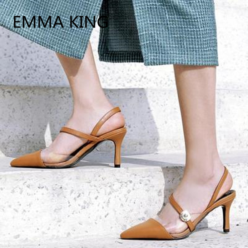 Brown Vintage Leather Women's Pumps Pointed Toe Slip On Ladies PVC Transparent Slingbacks Shoes Woman Sexy Thin High Heels Pump - 4
