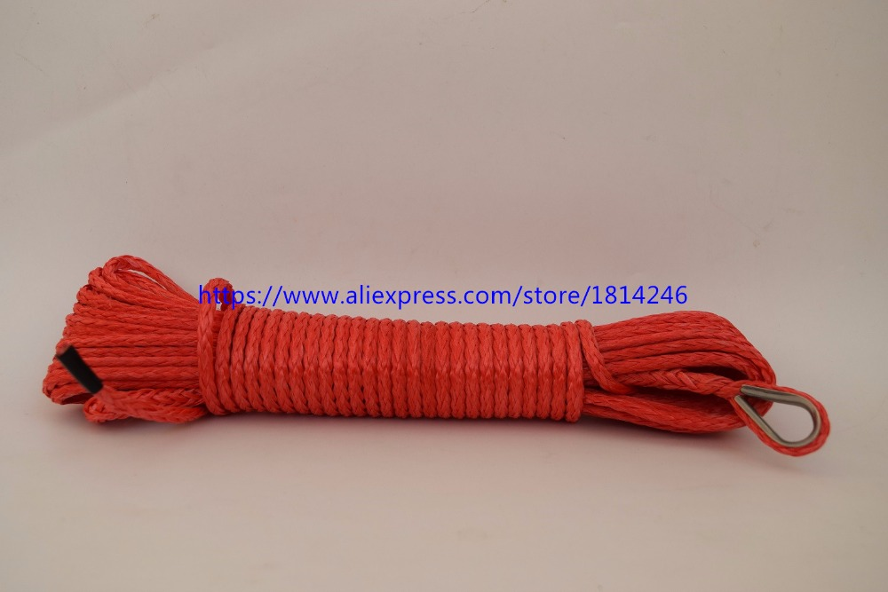Red 3/16*50ft Synthetic Winch Rope,ATV Winch Line,Boat Winch Rope 4500lbs for Winch Accessaries,UHMWPE Rope