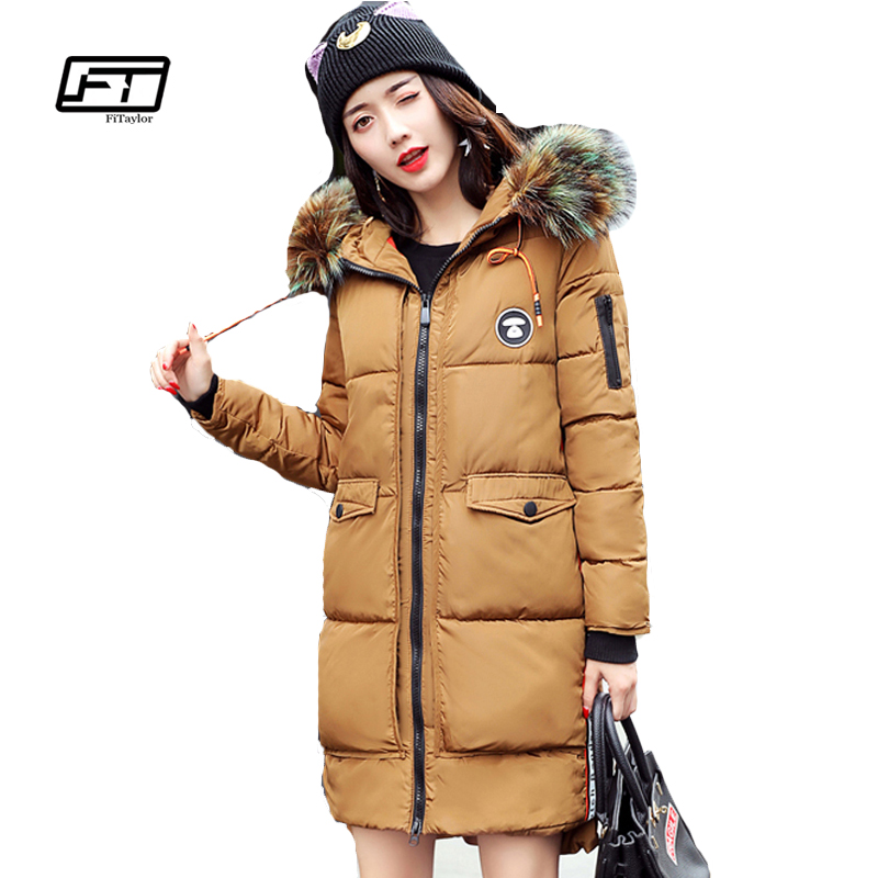 Fitaylor 2017 Fur Collar Hooded Winter Jacket Women Long Cotton Padded Female Coat Overcoat Outerwear Inverno Warm Slim Coats women winter coat jacket thick warm woman parkas medium long female overcoat fur collar hooded cotton padded coats
