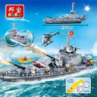 Banbao trovão battleship militar blocos de construção do exército compatível com marca tijolos educativos crianças modelo brinquedo 8240