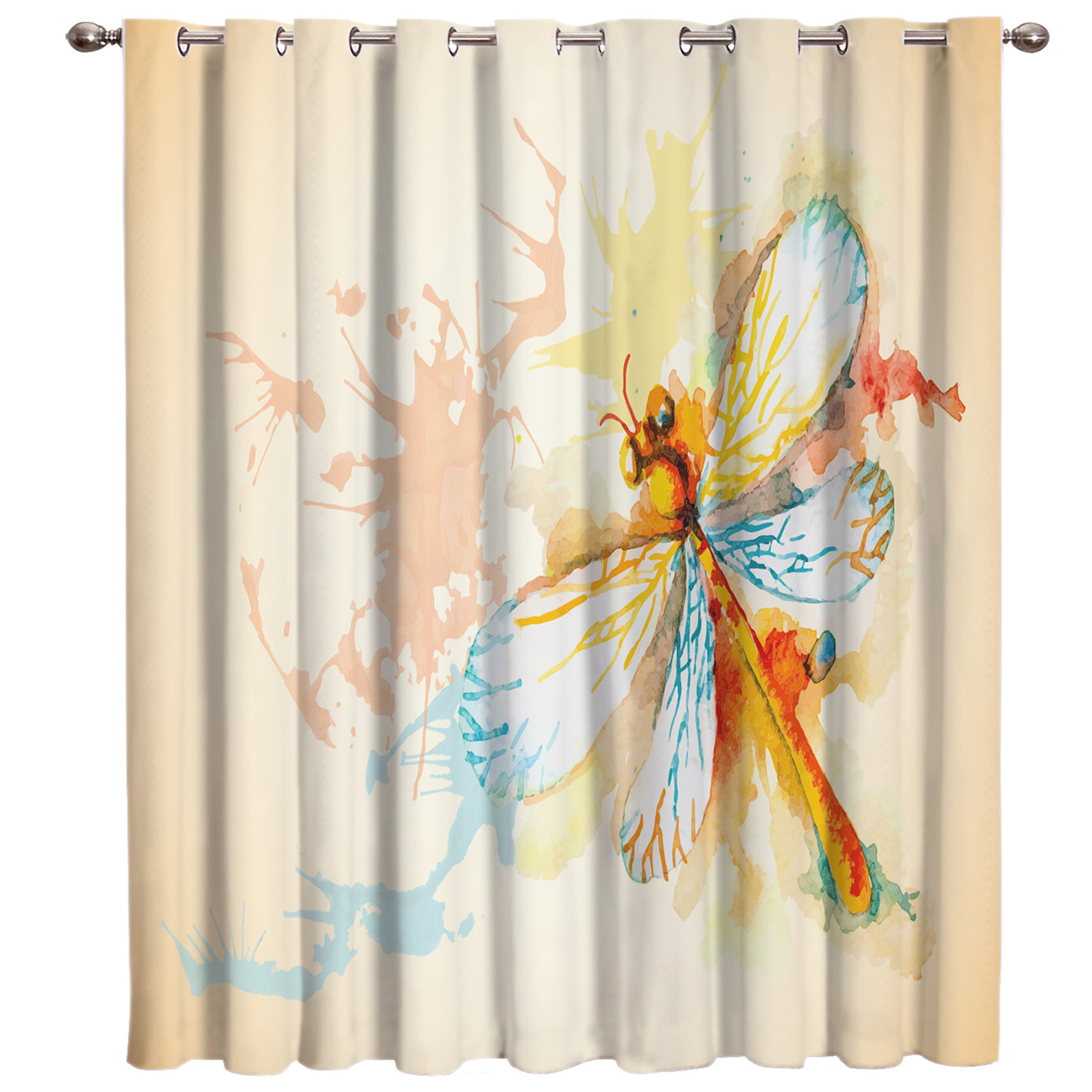 Watercolor Dragonfly Living Room Bathroom Blackout Outdoor Indoor Drapes Decor Print Kids Curtain Panels With Grommets Window