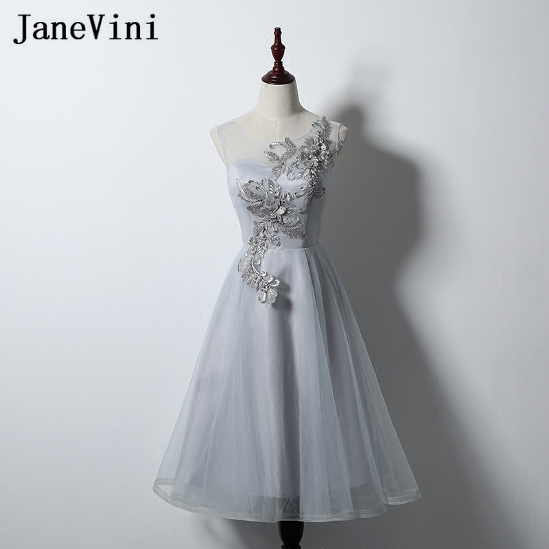 JaneVini Gray Tulle Tea Length Sisters   Dress   Short   Bridesmaid     Dress   for Girls Lace Pearls Beads Women Wedding Party   Dress   Prom
